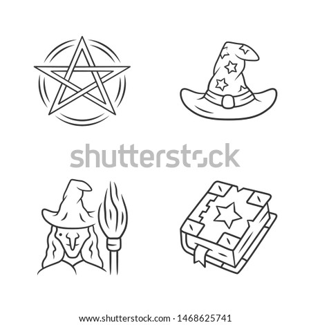 Magic linear icons set. Pentagram, wizard hat, witch, spell book. Witchcraft, occult ritual items. Mystery objects. Thin line contour symbols. Isolated vector outline illustrations. Editable stroke
