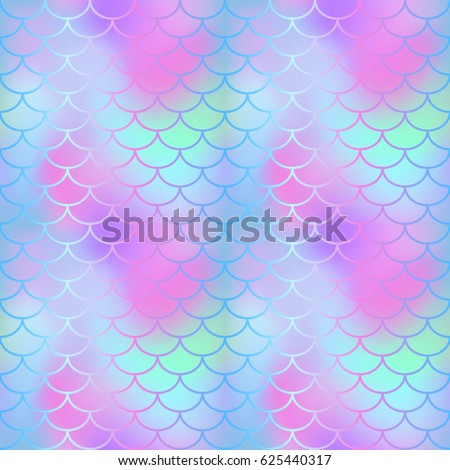 Magic mermaid tail texture. Fish scale seamless pattern. Mermaid vector background for beach party or summer wedding design. Romantic gradient mesh with fish scale ornament. Fantastic fish scale decor