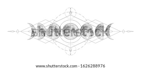 Magic moon with sacred geometry tattoo design. Monochrome hand drawn vector illustration, isolated on white background