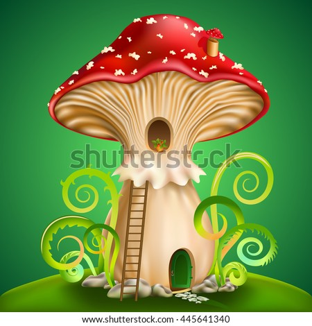 magic mushroom with door and