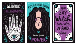 Magic mystical witch lettering posters with witchcraft hand drawn arms, moon, stars and tarot cards. Vector illustration.