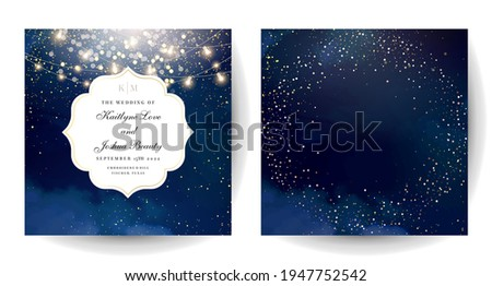 Magic night dark blue cards with sparkling glitter bokeh and line art. Curve shaped vector wedding invitation. Gold confetti and navy background. Golden scattered dust.Fairytale magic star templates