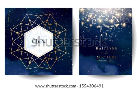 Magic night dark blue cards with sparkling glitter bokeh and line art. Diamond shaped vector wedding invitation. Gold confetti and navy background. Golden scattered dust.Fairytale magic star templates