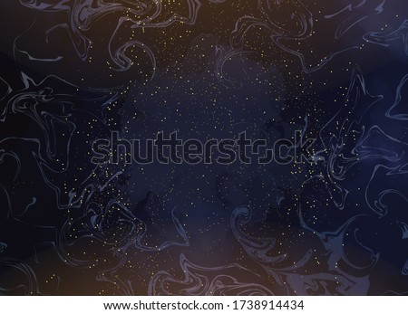 Magic night dark blue sky with sparkling stars. Gold glitter powder splash vector background. Golden scattered dust. Midnight milky way. Navy classic blue color. Christmas winter texture with clouds. Сток-фото ©