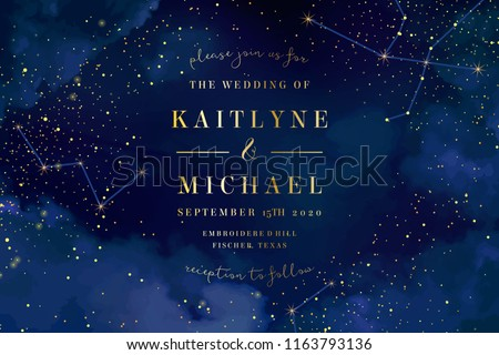 Magic night dark blue sky with sparkling stars vector wedding invitation. Andromeda galaxy. Gold glitter powder splash background. Golden scattered dust. Midnight milky way. Fairytale magic card. - Shutterstock ID 1163793136