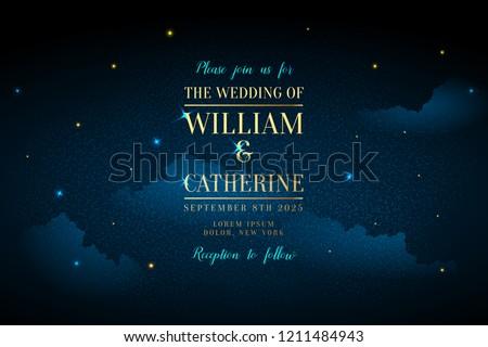 Magic night dark blue sky with sparkling stars vector wedding invitation. Andromeda galaxy. Gold glitter powder splash background. Golden scattered dust. Midnight milky way. Fairytale magic card.
