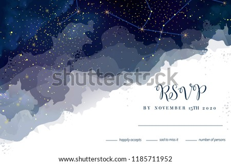 Magic night dark blue sky with sparkling stars vector wedding rsvp card. Andromeda galaxy.Gold glitter powder splash horizontal background.Golden scattered dust. Midnight milky way.Watercolor painting