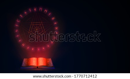 magic open witch book with red