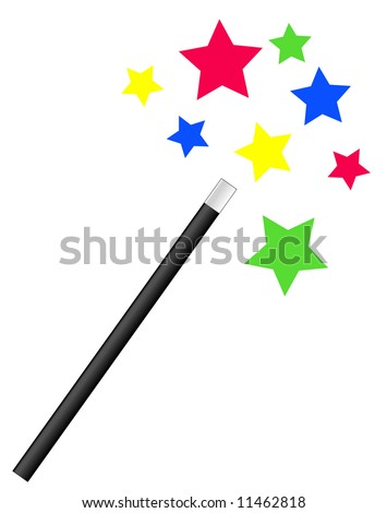 magic or magician's wand with bright stars - vector