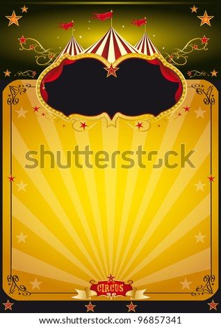 Magic orange circus poster. An orange circus background for your poster design.