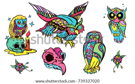 Magic owl old school tattoo vector. Fashionable owls set. Classic flash tattoo style, patches and stickers set