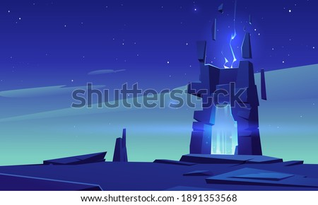 Magic portal in stone frame on desert landscape at night. Vector cartoon fantasy illustration, game background with mystic neon glowing in ancient arch, portal with blue plasma light