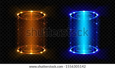 Magic portals, fantasy futuristic teleports with hologram effect set. Neon hud blue and red glowing circles, lighting round funnels for time and space teleportation. Realistic 3d vector illustration