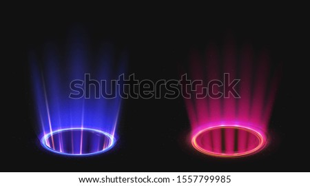 Magic portals on night scene. Blue and pink round holograms with light rays and sparkls. Realistic beam stage. Glowing futurictic teleport. Shining circle podium
