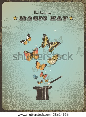 magic poster with hat, wand and butterflies