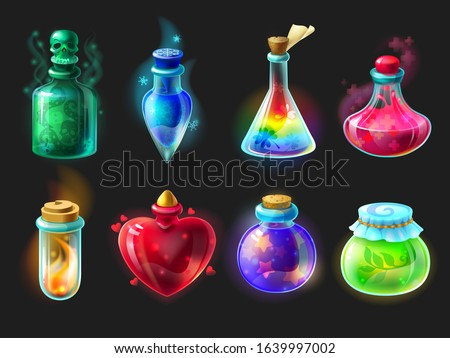 Magic potion. Cartoon game interface elements, alchemist bottles with elixir, poison, antidote and love potion. Vector fantasy and fairy tales objects set for design gui
