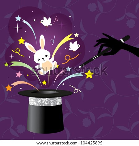 magic- rabbit and magic wand with top hat with floral background.  design element- vector illustration