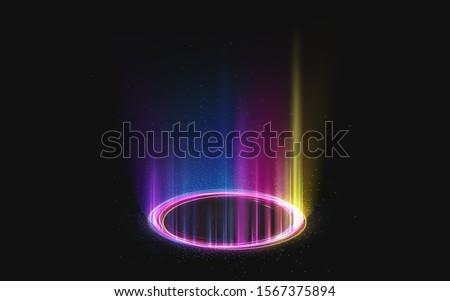 magic rainbow portal on night