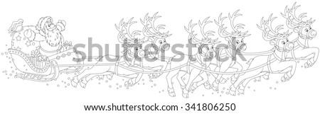 magic reindeers flying santa