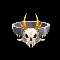 Magic ring with animal skull, vector wizard jewelry with creepy horned cranium. Sorcerer fantasy magician or witch jewel with sharp teeth and death head. Cartoon ring ui element, graphic design asset