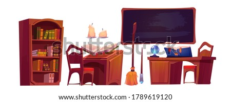 Magic school interior with open book of spell, chalkboard and bookcase. Vector cartoon set of furniture in wizard or witch room, broom, candles and magician wand Foto stock ©