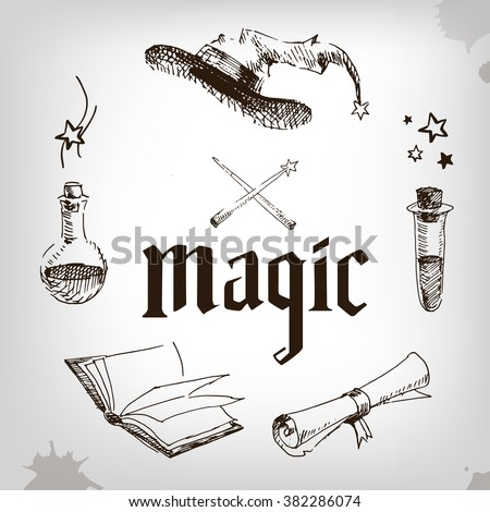 magic set  wizard  hat  book