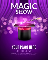 Magic Show poster design template. Magic show flyer design with hat and curtains.