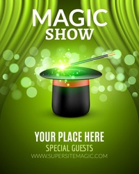 Magic Show poster design template. Magic show flyer design with magic hat and wand. Magician entertainment.