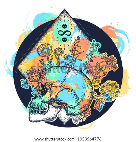 magic skull tattoo and t shirt
