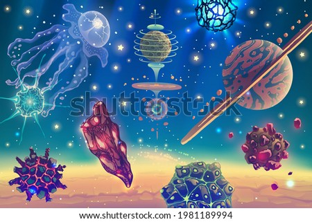 magic space landscape with