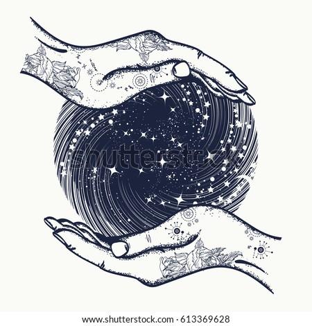 Magic sphere in hands t-shirt design. Magic ball tattoo art. Symbol of  prediction of destiny, magic, mysticism