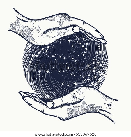 magic sphere in hands t shirt