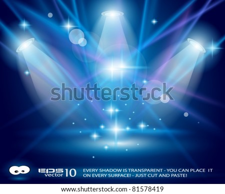 Magic Spotlights with Blue rays and glowing effect for people or product advertising Every lights and shadow are transparent.