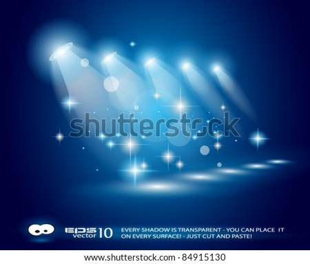 magic spotlights with blue rays