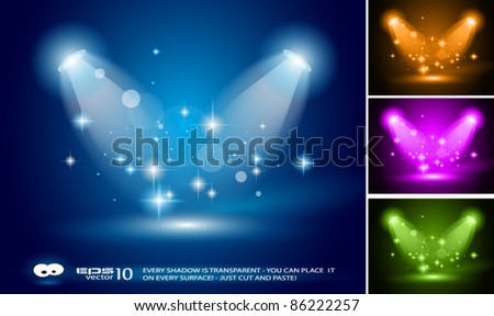 Magic Spotlights with Blue rays and glowing effect for people or product advertising. 3 other colours included. Every lights and shadow are transparent.