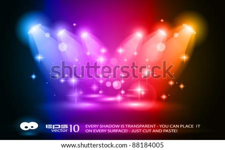 magic spotlights with rainbow