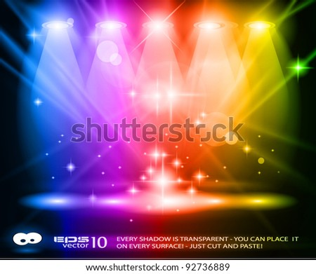 Magic Spotlights with Rainbow rays and glowing effect for people or product advertising. Every lights and shadows are transparent.