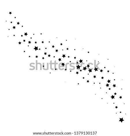 Magic stardust trail, comet line. Falling star isolated on white. Vector illustration