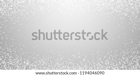 Magic stars Christmas background. Subtle flying snow flakes and stars on light grey background. Bewitching winter silver snowflake overlay template. Curious vector illustration.