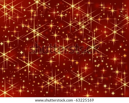 Magic stars / Christmas sparkle. Dark red background with glowing and sparkling stars.