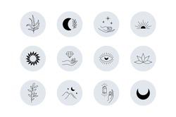 Magic story highlight covers. Boho social media mystic minimal icons, simple bohemian hand drawn logo design. Vector illustration.