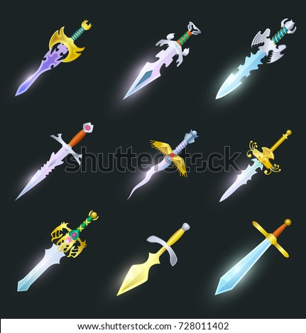 magic swords cartoon icons set