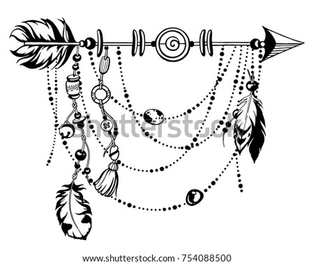 Magic symbolic art in boho style. Black and white vector Illustration. Arrow, feather, key, crystal, beads. Spirituality, alchemy, sacred geometry design element for invitation, tattoo