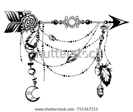 Magic symbolic art in boho style. Black and white vector Illustration. Arrow, feather, moon, crystal, beads. Spirituality, alchemy, sacred geometry design element for invitation, tattoo