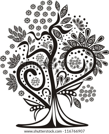 Magic tree black and white vector illustration pattern