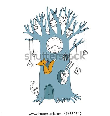 magic tree  clock  fox and hare