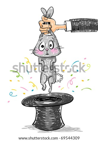 Magic trick - Rabbit coming out from magic hat on white background, vector illustration