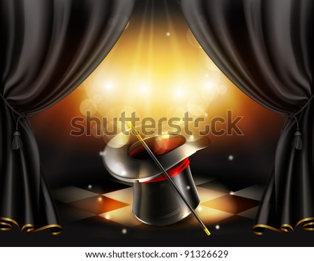 Magic tricks, vector background