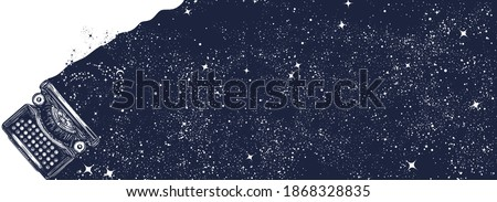 Magic typewriter and night sky. Symbol of imagination, universe, fantasy, creativity. Black and white surreal graphic Сток-фото ©