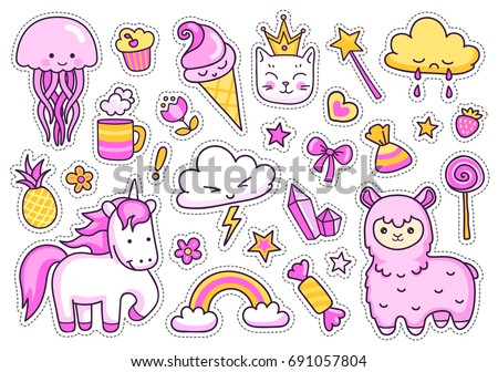 Magic unicorn, alpaca, kitten, jellyfish, cute animals, sweets, rainbow, clouds, stars, hearts. Set of stickers, patches, badges, pins, prints for kids. Doodle style. Vector isolated illustration. #691057804
